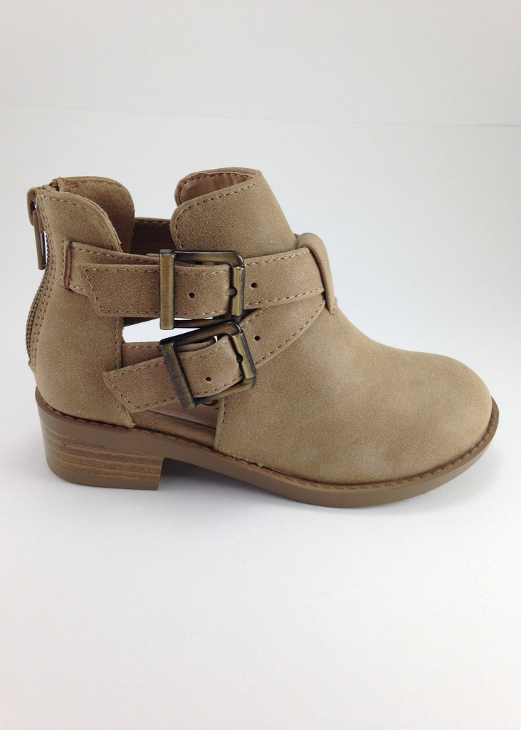 Girls Tan Criss-Cross Ankle Boots