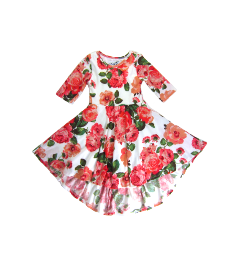 Girls Coral Bloom Hi-Low Dress