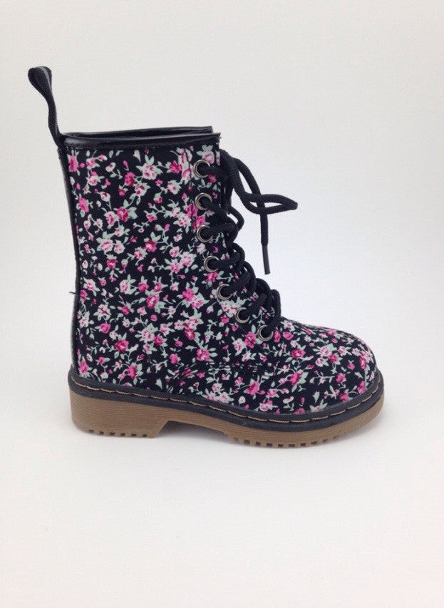 Girls Floral Lace Up Boots