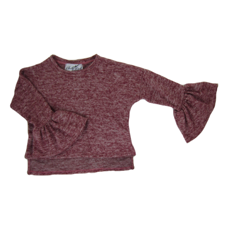 Girls Burgundy Bell Sleeve Top - Liberty Lark