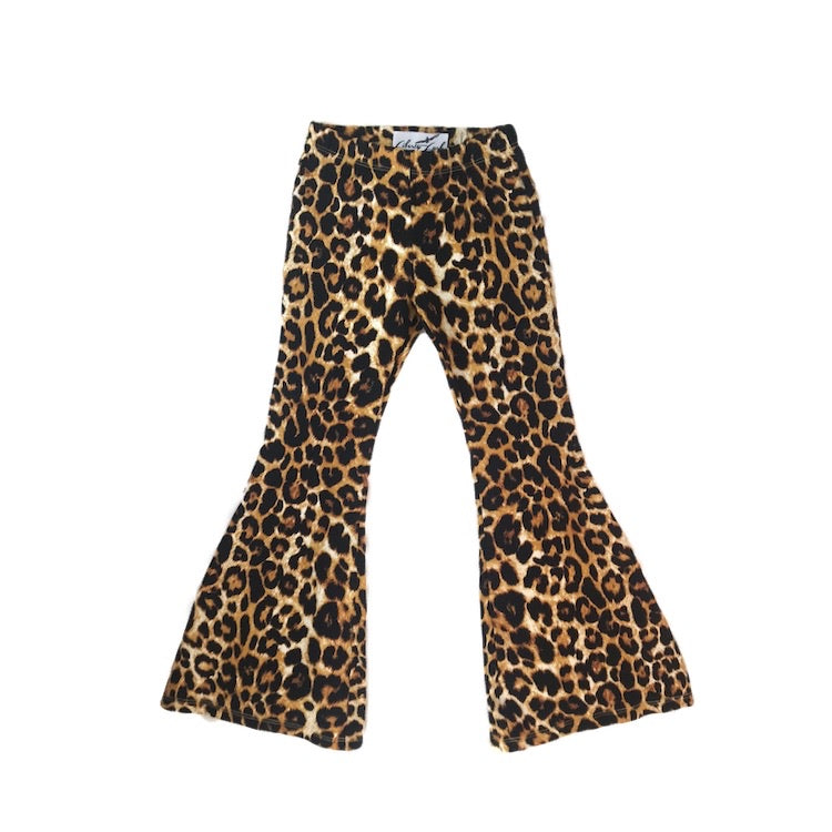 Girls Leopard Bell Bottoms - Pants