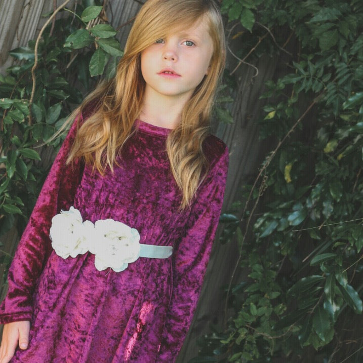 Girls Plum Crushed Velvet Maxi Dress