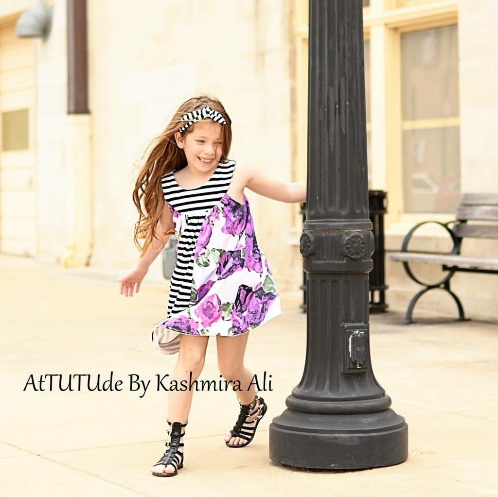 Girls Purple Flower Trapeze Dress