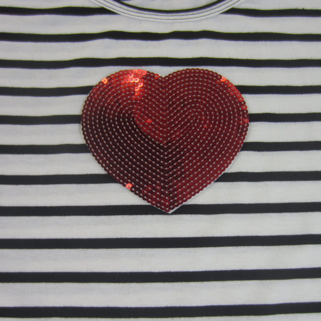 Girls Striped Short Sleeve Heart Top