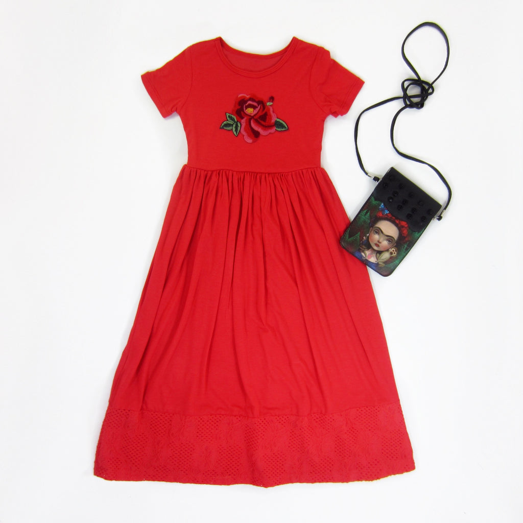 Girls Red Coral Maxi Dress with Embroidered Flower