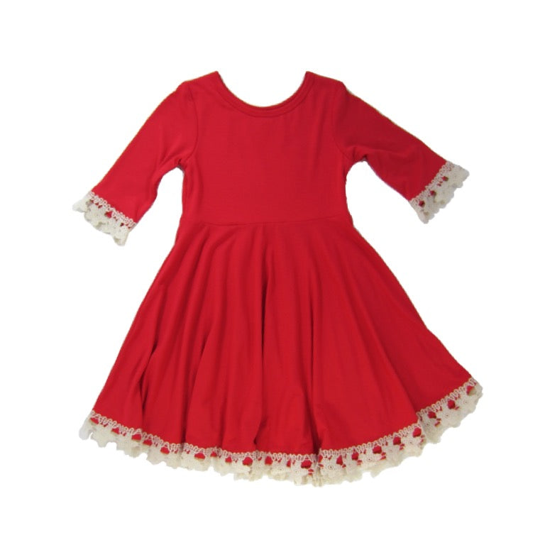 Girls Red Coral Dress | Liberty Lark
