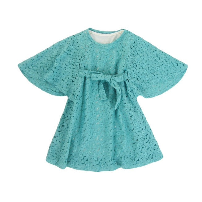 Girls Teal Boho Lace Dress