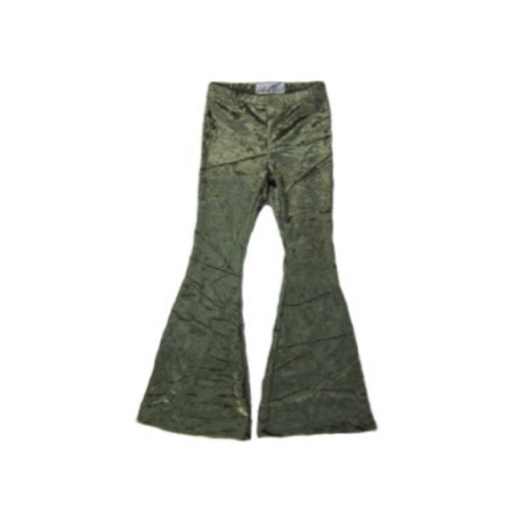Girls Green Velvet Bell Bottoms - Pants