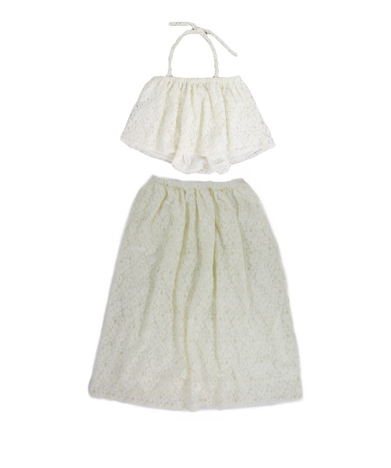 Girls Cream Lace Flounce Top & Maxi Skirt Set