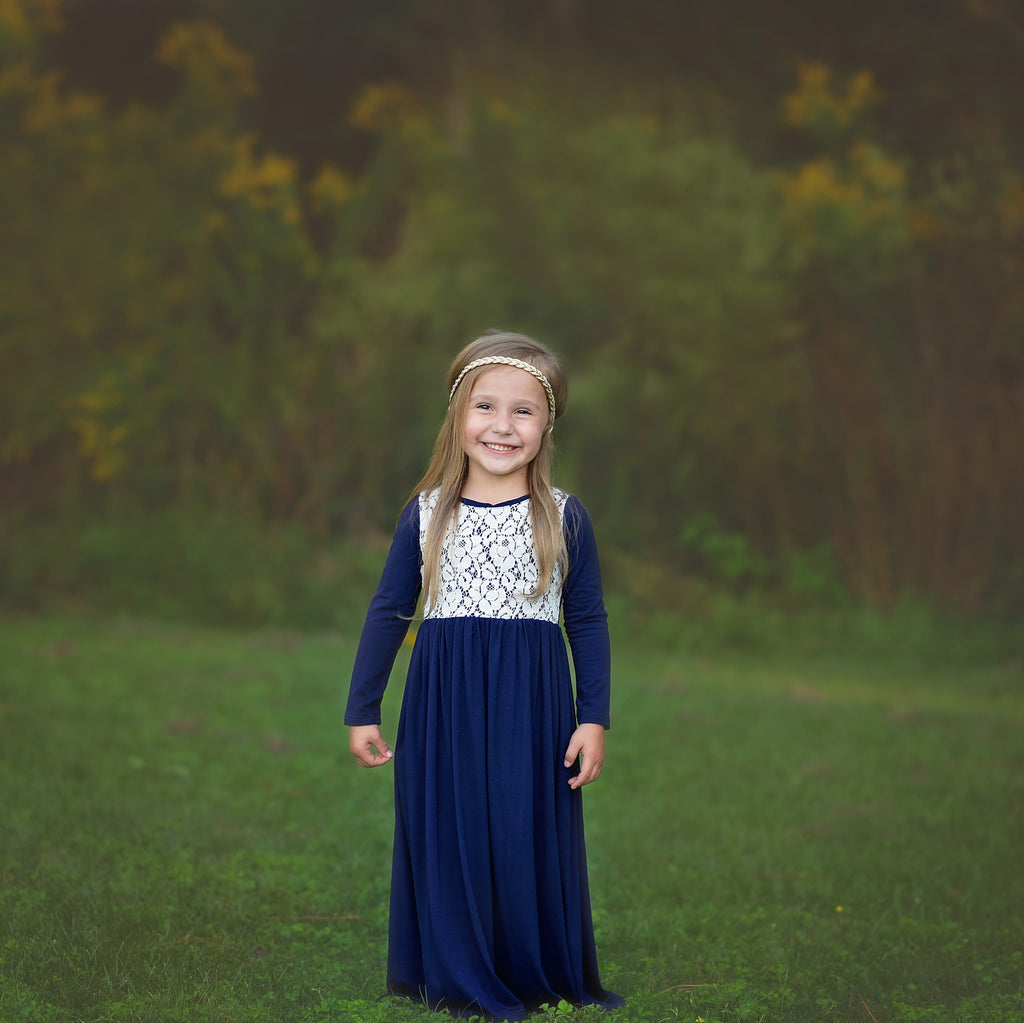Girls Navy Blue Maxi Dress with Cream Lace