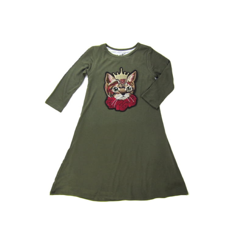 Girls Green Cat Dress