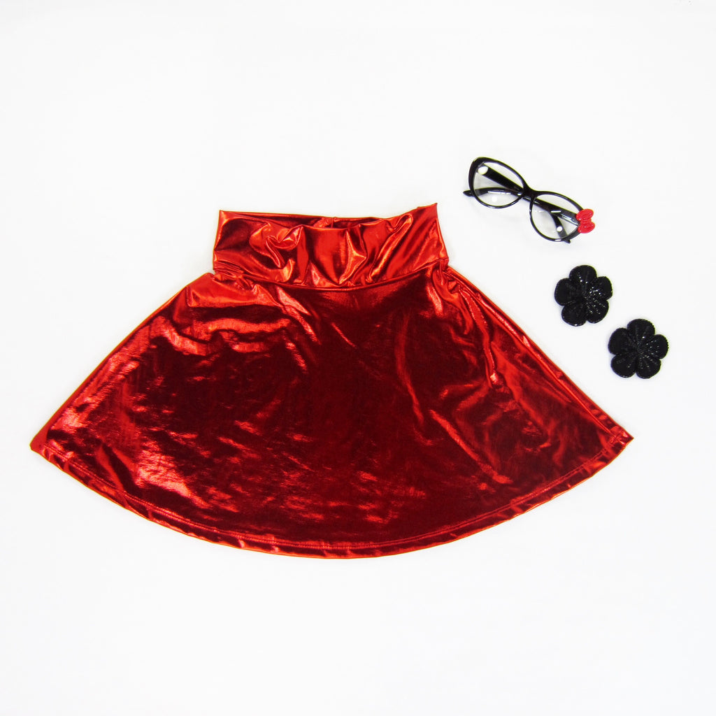 Girls Red Metallic Skater Skirt