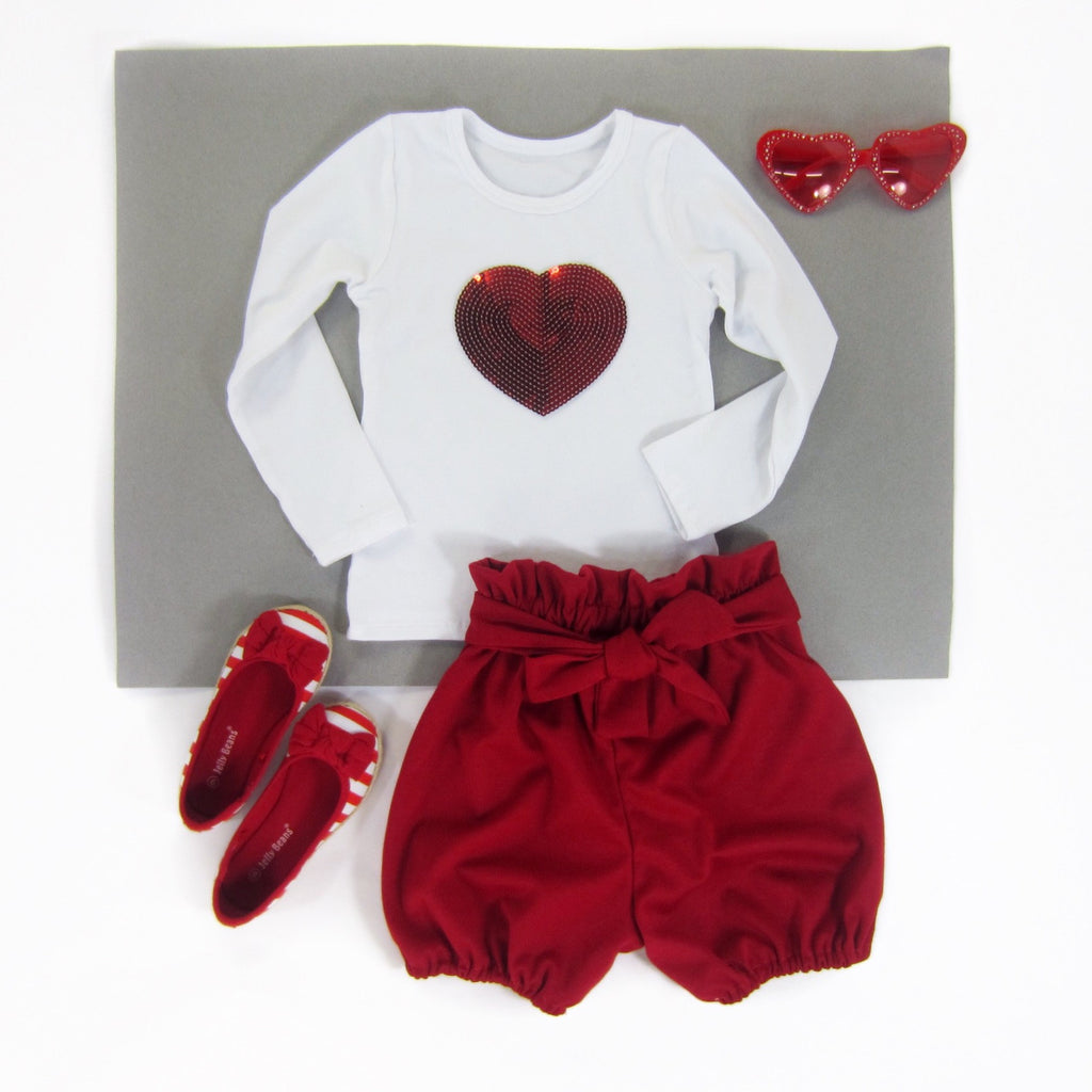 Girls White Long Sleeve Red Heart Top