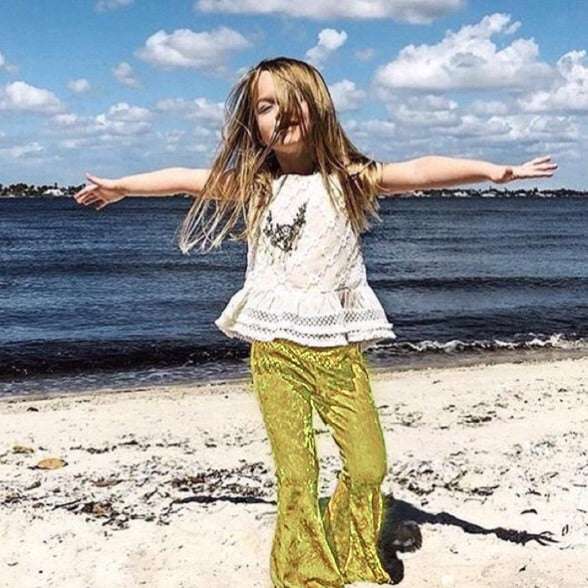 Girls Yellow Velvet Bell Bottoms - Pants