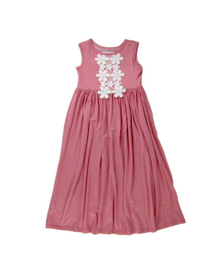Girls Dusty Rose Sleeveless Maxi Dress