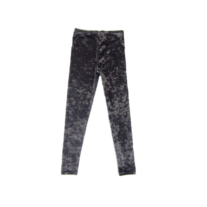 Girls Gray Crushed Velvet Leggings