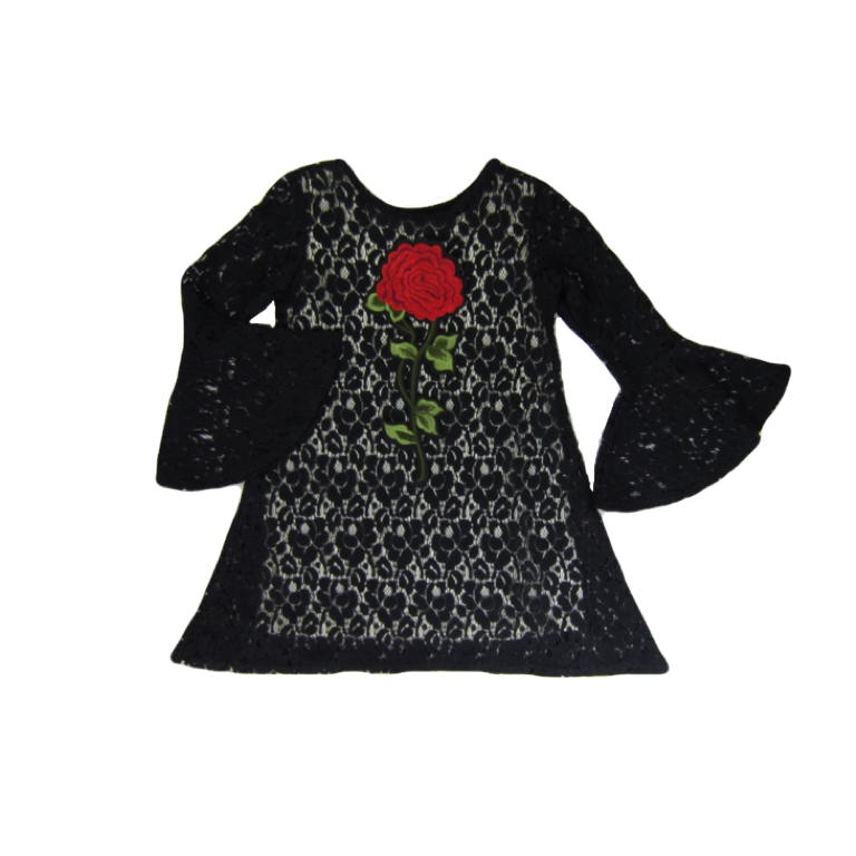 Girls Black Bell Sleeve Dress