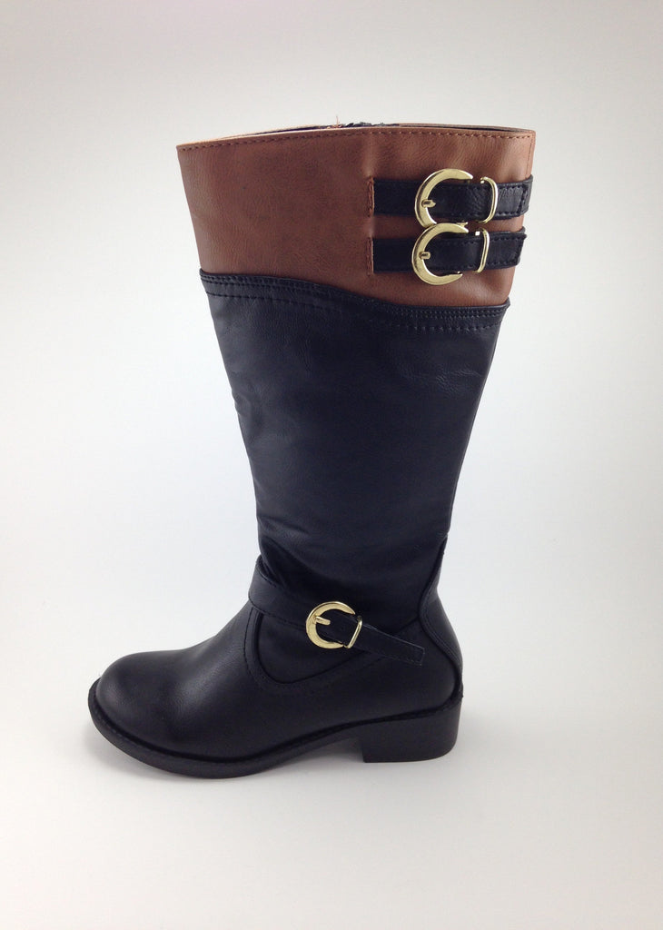 Girls Tan/Black Riding Boots
