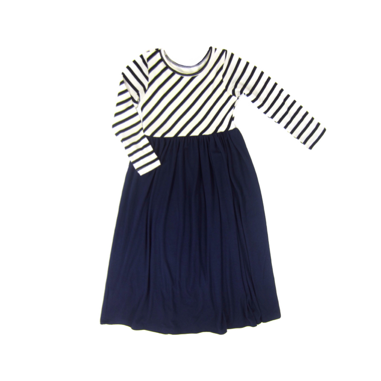 Girls Navy Striped Maxi Dress