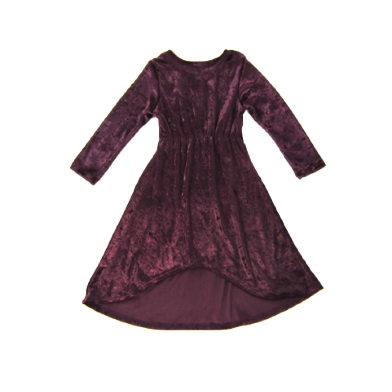 Girls Plum Crushed Velvet Dress
