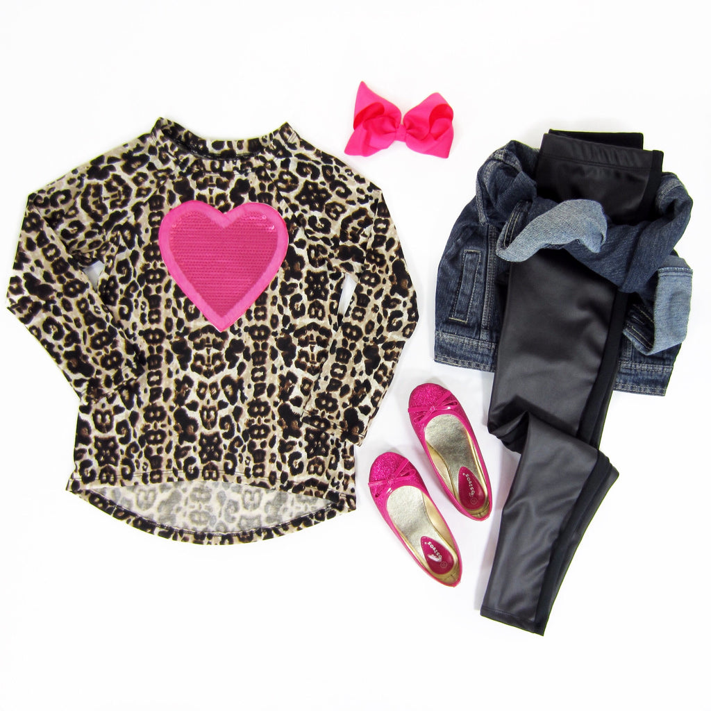 Girls Pink Heart Leopard Top