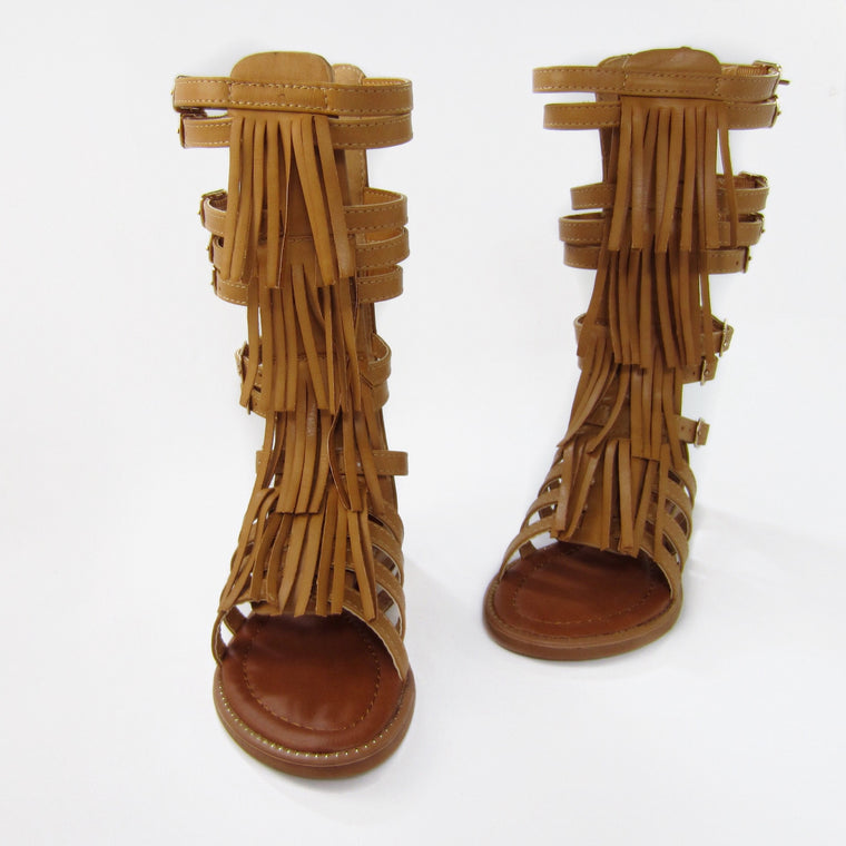 Girls Tan Fringe Gladiator Sandals