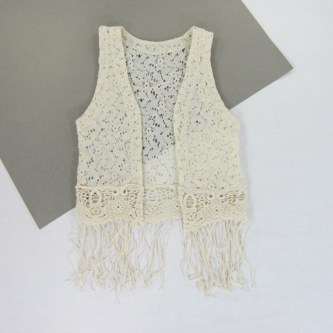 Girls Cream Fringe Trim Vest