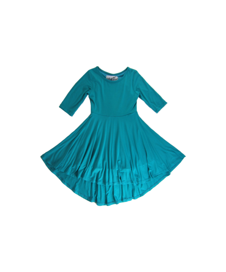 Girls Teal Hi Lo Dress