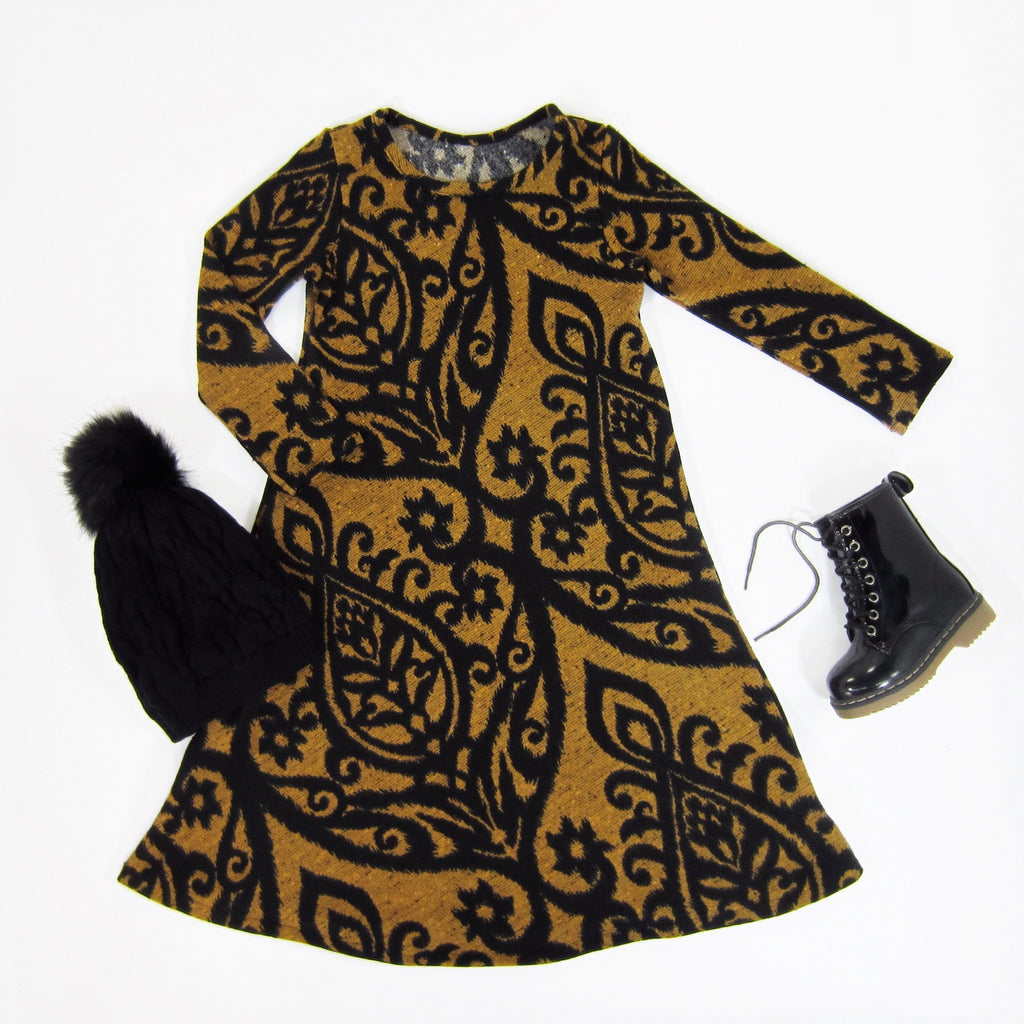 Girls Damask Mustard Dress