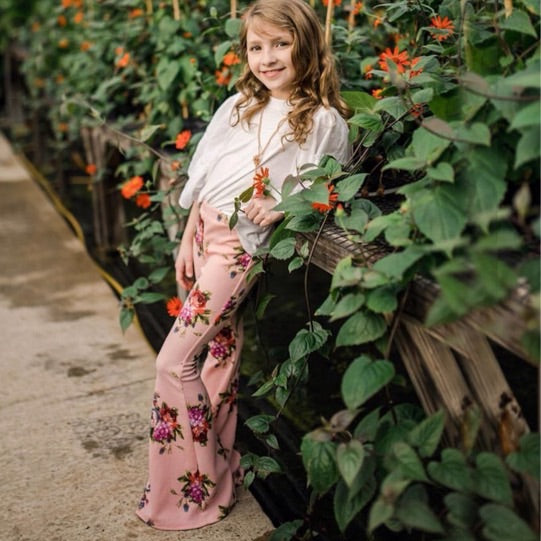 Girls Pink Bloom Bell Bottoms - Pants