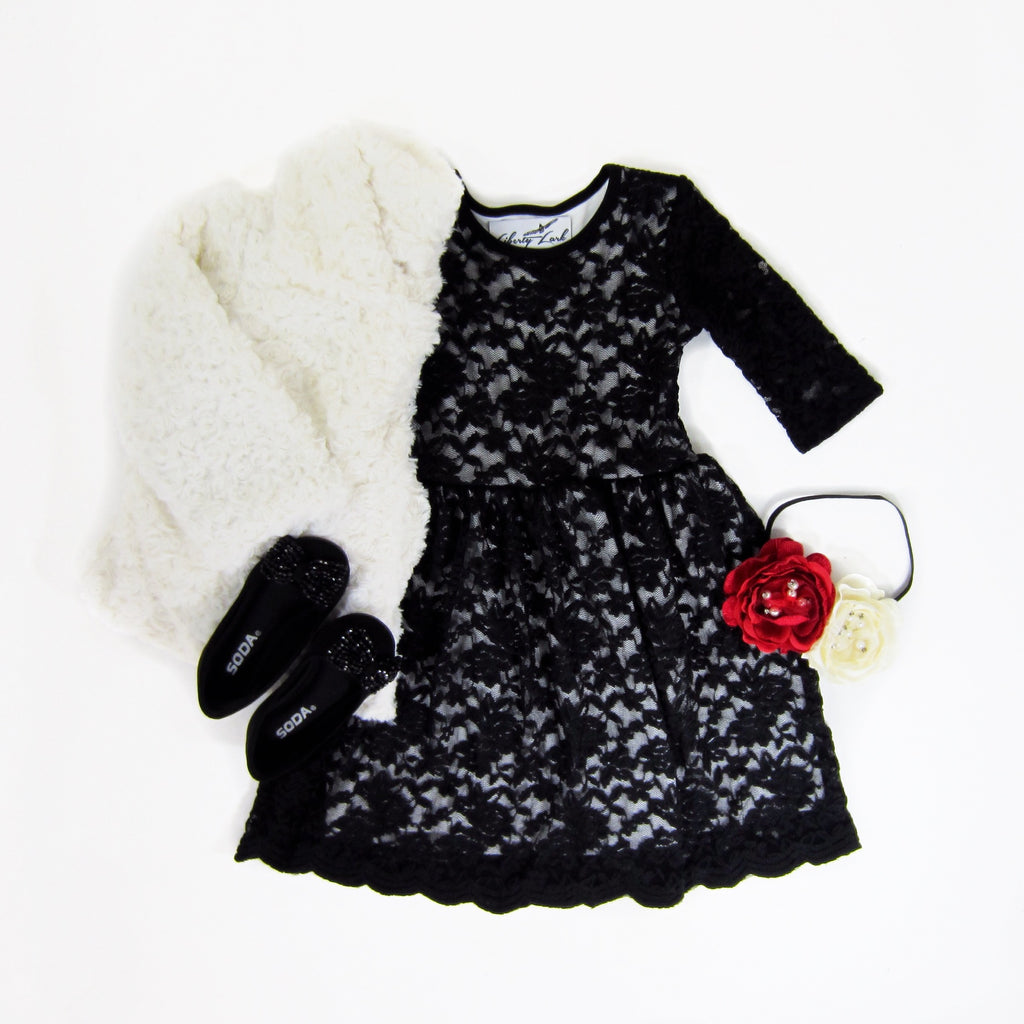 Girls Black Lace Dress with Scalloped Hem