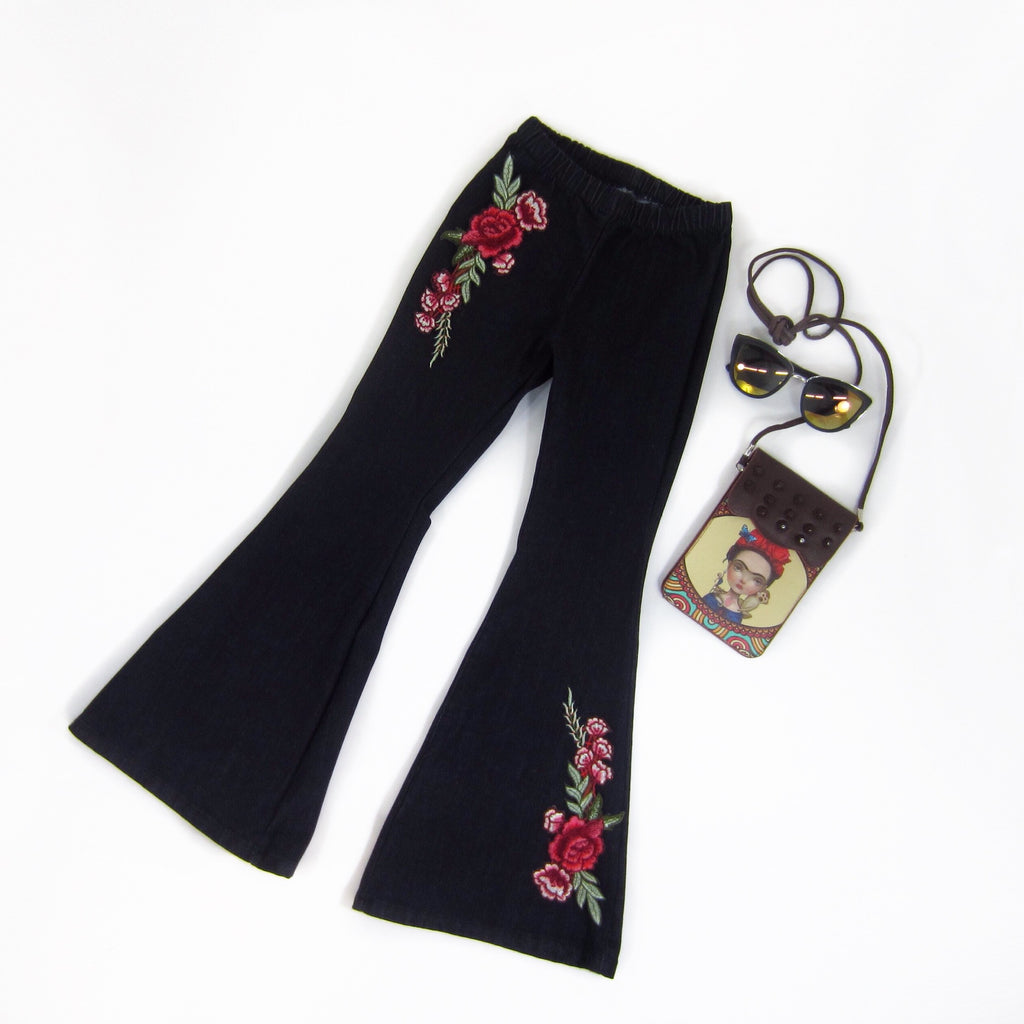 Girls Embroidered Floral Applique Bell Bottom Pants