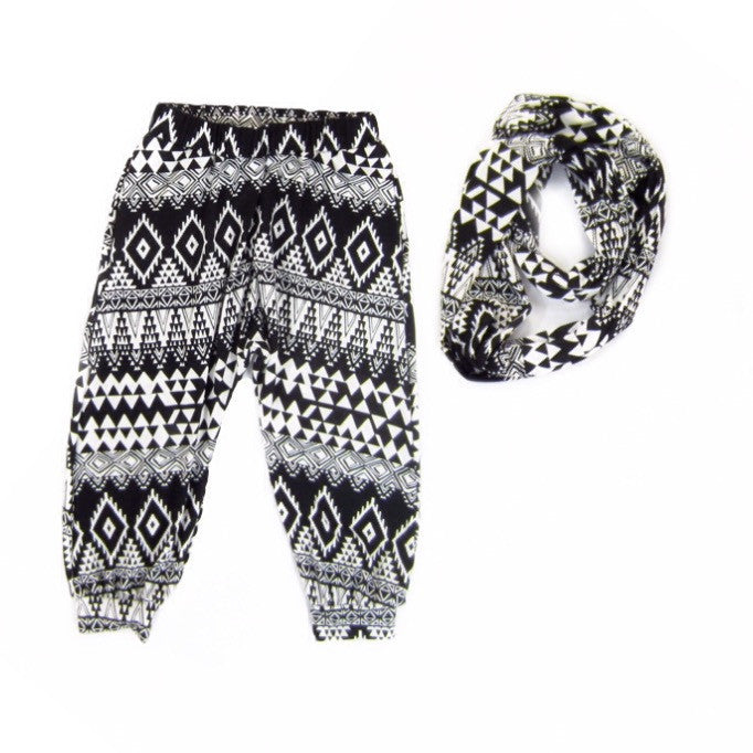 Girls Tribal Harem Pants and Scarf Set