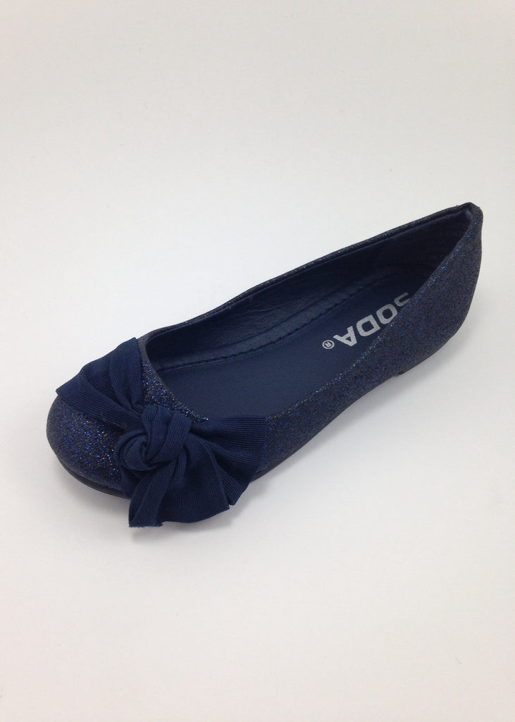 Girls Navy Side Bow Flats
