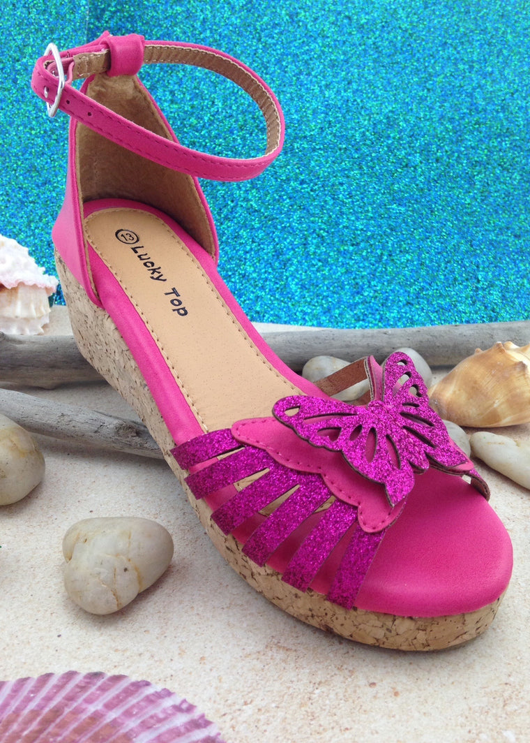 Girls Hot Pink Butterfly Wedges