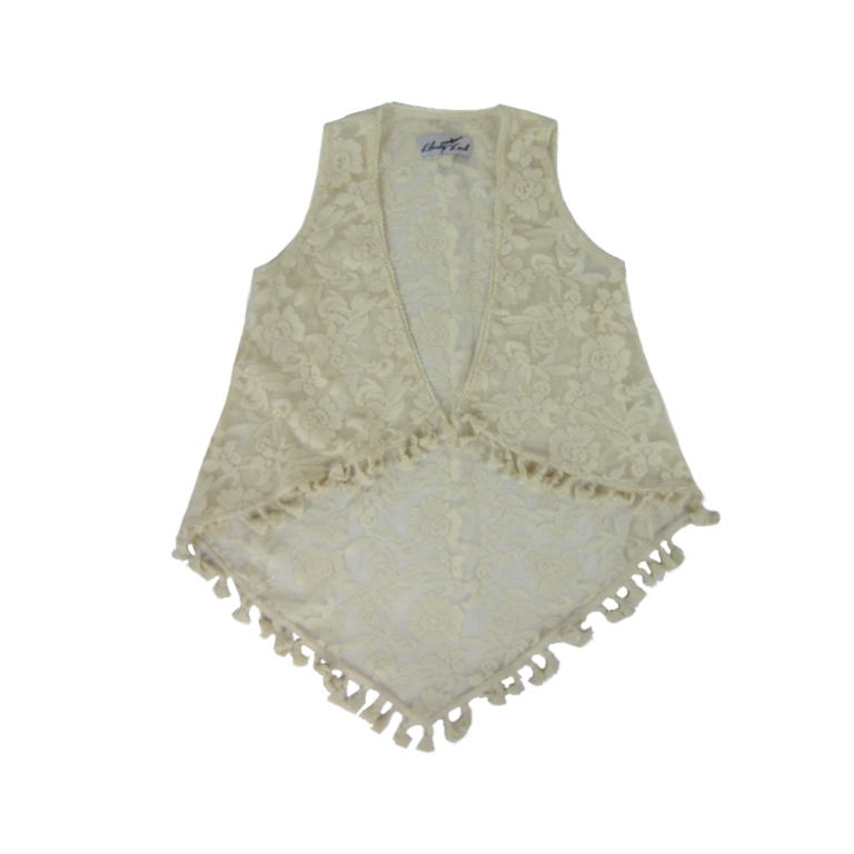 Girls Ivory Lace Duster Vest