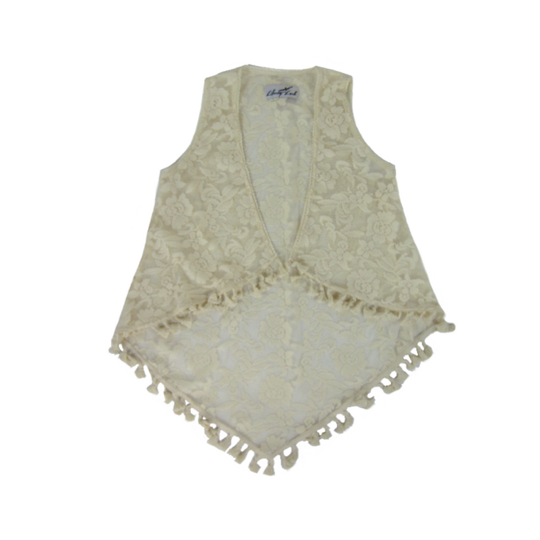 Girls Ivory Lace Duster Vest - Liberty Lark LLC