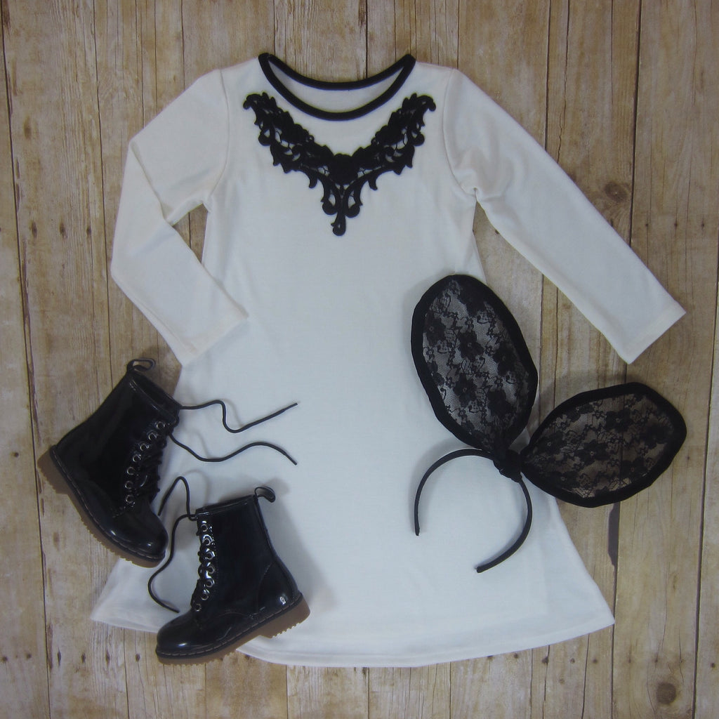 Girls Ivory Swing Dress with Black Appliqué