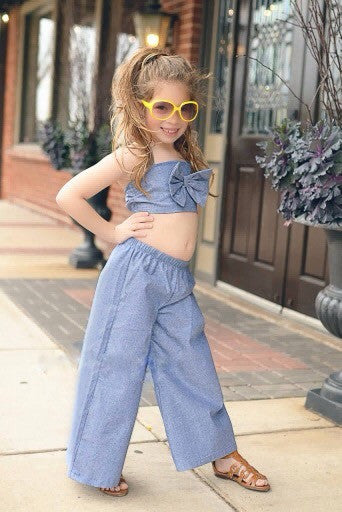 Girls Chambray Pants and Crop Top Set