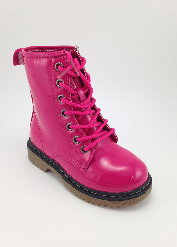 Girls Pink Patent Lace Up Boots