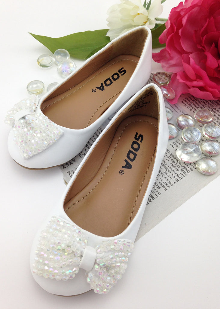 Girls White Beaded Bow Shoes | White Shoes for Girls