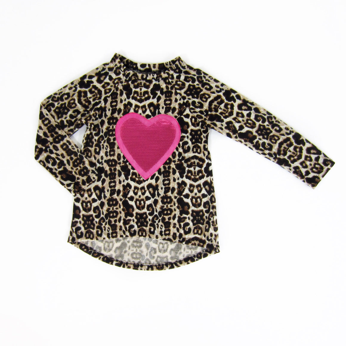 Girls Pink Heart Leopard Top - Liberty Lark