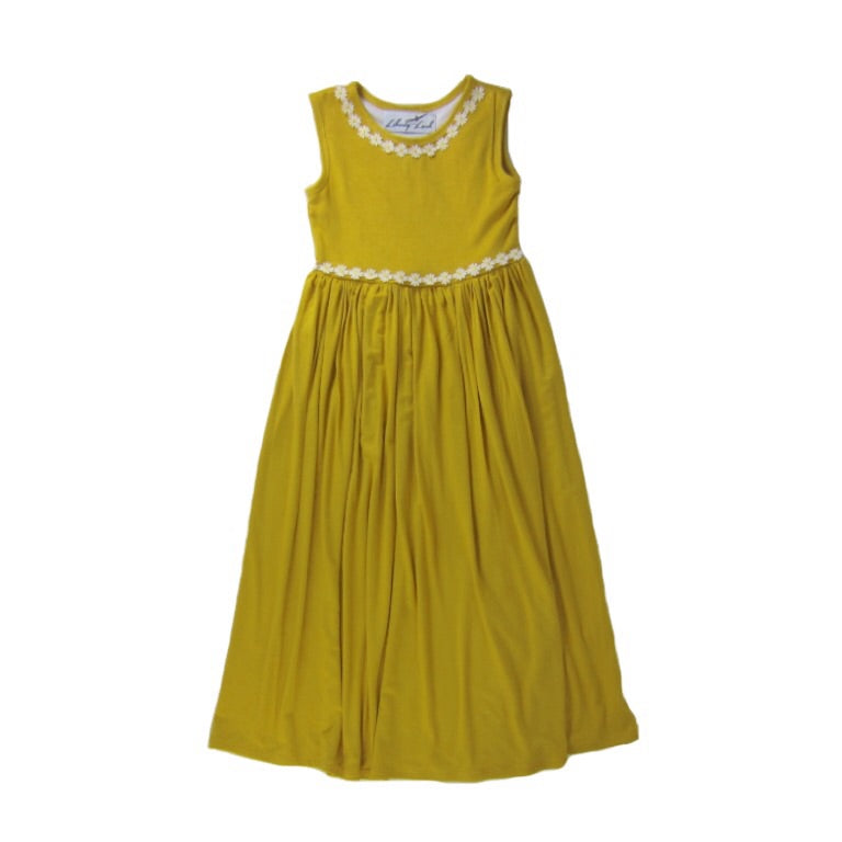 Girls Mustard Sleeveless Maxi Dress