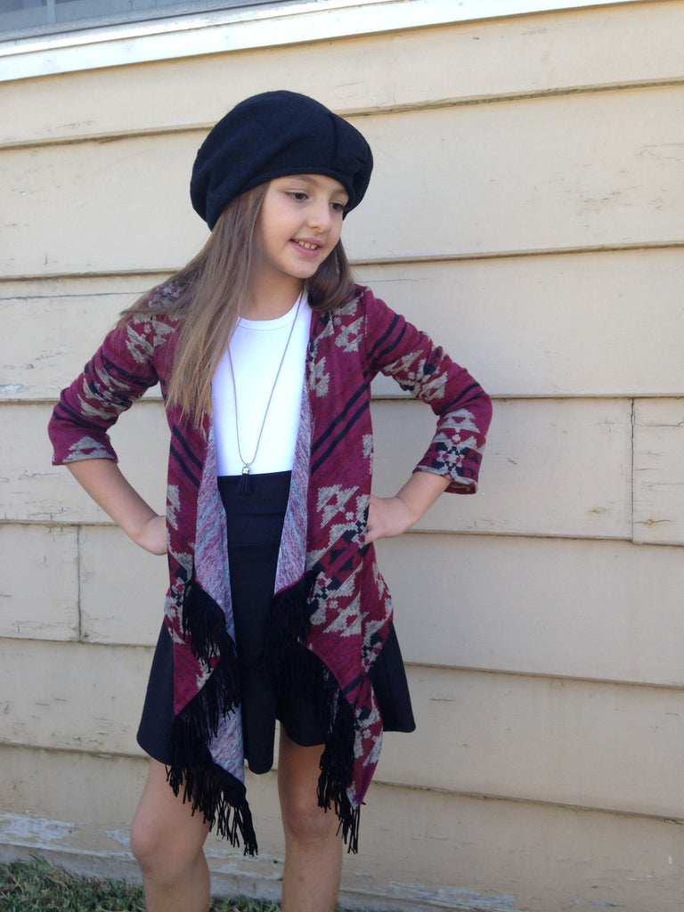 Girls Burgundy Fringe Cardigan