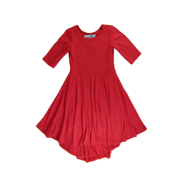 Girls Coral Hi-Lo Dress