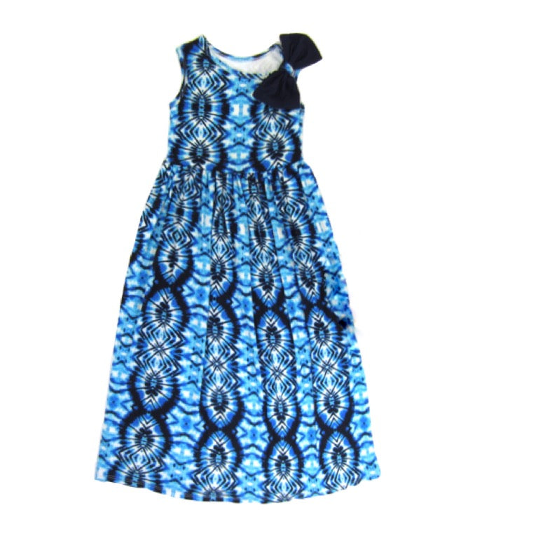 Girls Blue Tie Dye Maxi Dress | Liberty Lark