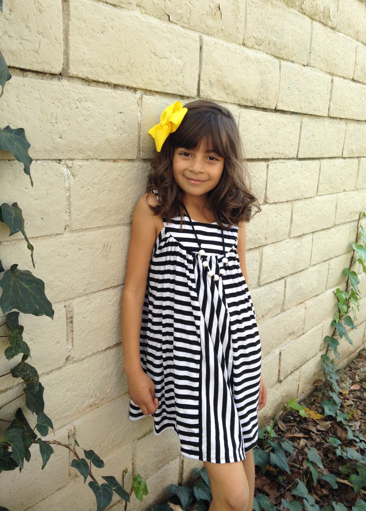 Girls Striped Trapeze Dress