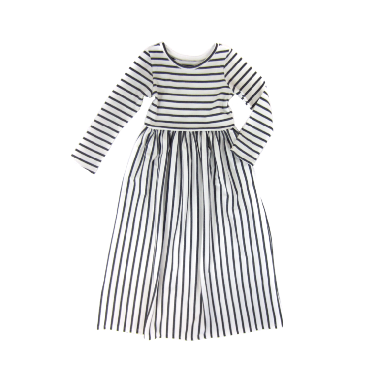 Girls Gray Striped Maxi Dress