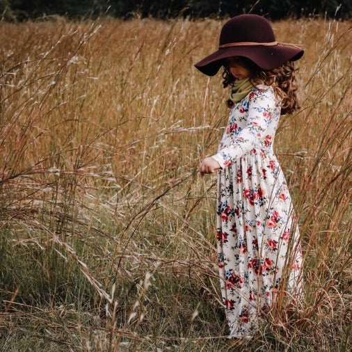 Girls Fall Floral Maxi Dress
