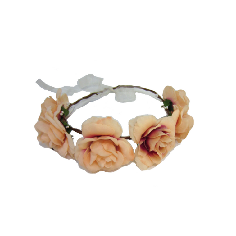 Coral Flower Crown Headband - Liberty Lark LLC